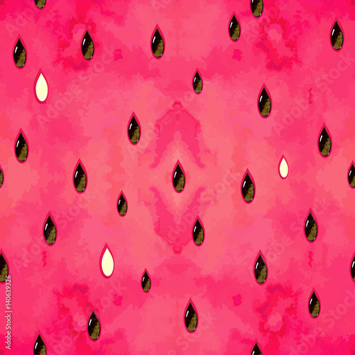Cotton fabric Fruity seamless pattern with watercolor paint textured watermelon pieces. Vector texture.