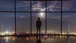 The man stand near a panoramic window on a background of a mountain. Time lapse