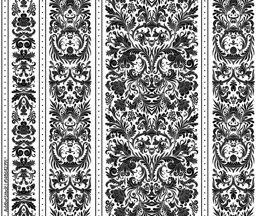 Striped Seamless Pattern On Baroque Style Floral Wallpaper Damask Background Vector Illustration