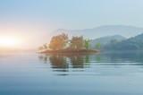 Fototapeta Krajobraz - Beautyful nature of the lake with sunrise