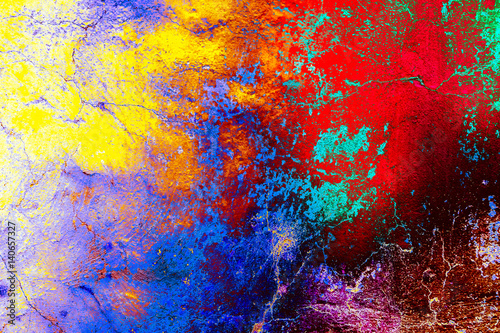 Poster Graffiti Grunge color wall background texture in rainbow style