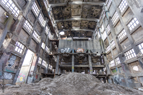 Acrylic Prints Old abandoned buildings Destroyed industry hall