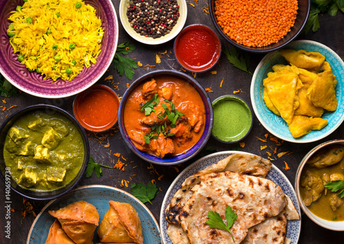 Fototapeta Assorted indian food obraz