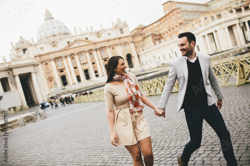 Loving couple in the Vatican, Italy Canvas Print