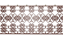 Old Rusty Wrought Iron Railing With Elegant Decorative Elements, 3D Rendering