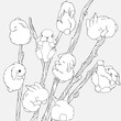 Set of tall pussy willow sprays with cute little fluffy bunnies.