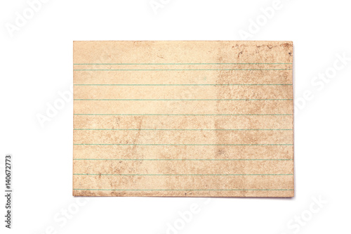Pinturas sobre lienzo  Old Vintage Piece of Paper, with lines and Grunge Look, Isolated on White Backgr