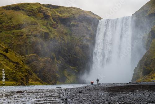 Fotobehang Natuur Park Skogafoss waterfall, Iceland