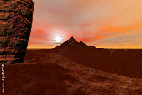 Mountain, a rocky landscape, orange horizon and clouds.