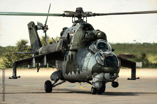 Cold war aera helicopter gunship Canvas Print