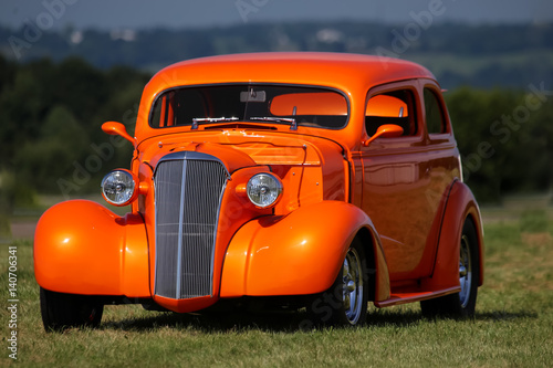Wall Murals Old cars Classic Car Vintage Beautiful Orange with Country Backround
