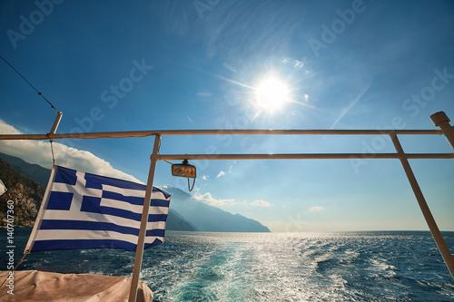 Fototapeta athos greece mounastery sea