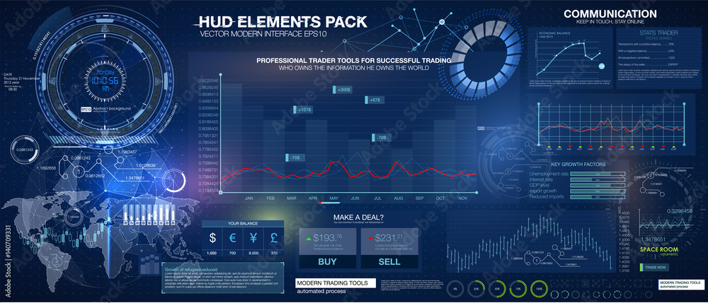 Fototapety, obrazy: Set graphs and charts. Statistic and data, information infographic. HUD background outer space. infographic elements.