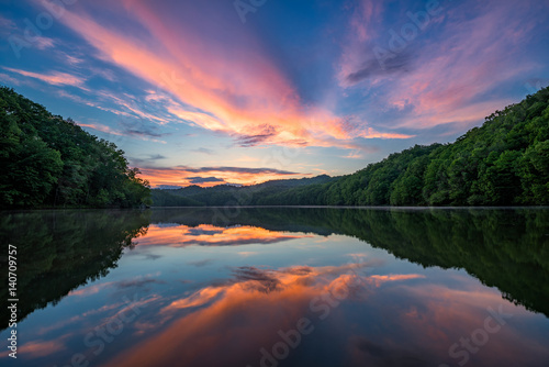 Poster de jardin Lac / Etang Scenic summer sunset over calm lake, Appalachian mountains