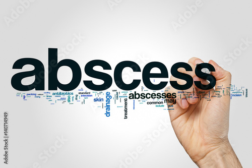 Photo Abscess word cloud on grey background
