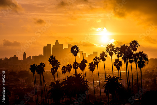 La pose en embrasure Palmier Los Angeles and Palm Trees Sunset