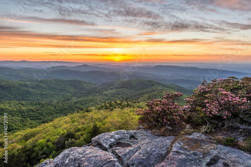 Fotografie, Obraz  sunrise from hawksbill mountain in north carolina