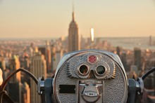 Coin Operated Binoculars With View Of New York And Empire State Building, America, USA