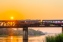 The Train Is Passing Through The Death Railway Bridge Over The River Kwai In Kanchanaburi.During World War Two Japan Constructed Railway From Thailand To Buma This Is Now Know The Death Railway.