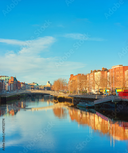 Fotografie, Obraz Dublin, panoramic image of Half penny or Ha'penny bridge