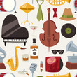 Fashion jazz band music party symbols and musical instrument sound concert acoustic blues bass design vector seamless pattern.