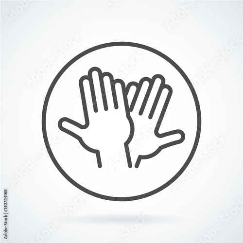 Foto  Black flat icon gesture hand of human high five, greeting