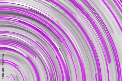 Fototapeta na wymiar White concentric spiral with violet glowing elements on white background