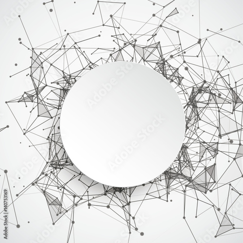 Fotografía  Abstract Background Connected Dots Paper Circle