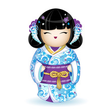 Kokesh Japanese National Doll In A Blue Kimono With Stylized Sea Waves, Birds And Pattern Of Flowers. Rope Golden Belt With A Traditional Knot. Vector Illustration. A Character In A Cartoon Style.