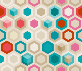 FototapetaAbstract seamless background of hexagons in retro style, eps10 vector