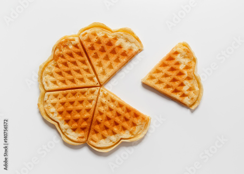 Fotografía  Belgian heart shaped waffle on white background