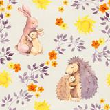 Macierzysty królik i mama jeż obejmują dziecko zwierząt. Akwarela malowany wzór - 140759159
