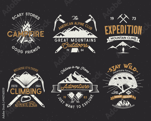 Set of mountain climbing labels, mountains expedition emblems, vintage hiking silhouettes logos and design elements Canvas Print