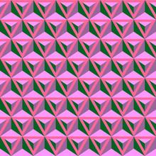 Wektor Bez Szwu, Kolorowy Wzór Nowoczesnej Geometrii, Trójkąty 3D, Abstrakcyjne Geometryczne Tło, Trendy, Wielobarwny Druk, Retro Tekstury, Projektowanie Mody Hipster
