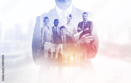 Fotografie, Obraz  Double exposure of young ambitious business group