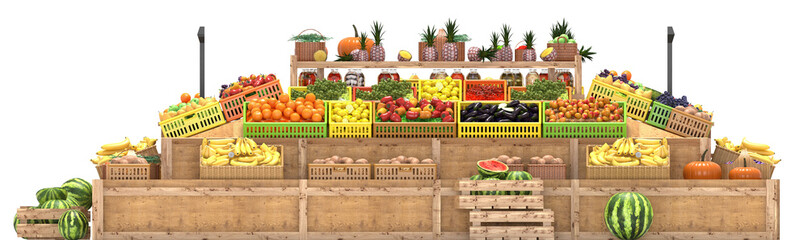 Market stalls with fruits and vegetables, fresh food, Isolated on white background, 3d render