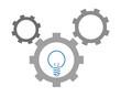 ingranaggi con lampadina illustrazione vettoriale