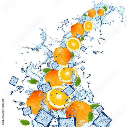 Foto op Canvas In het ijs Water splash with orange isolated on white background. Splash motion with fruits. Abstract object