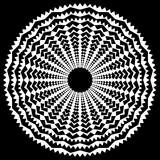 Promieniujący / promieniowy abstrakcyjny okrągły element geometryczny. Streszczenie czarno-biały kształt - 140767136