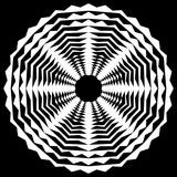 Promieniujący / promieniowy abstrakcyjny okrągły element geometryczny. Streszczenie czarno-biały kształt - 140767188