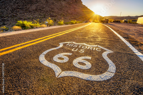 Spoed Fotobehang Route 66 Street sign on historic route 66 in the Mojave desert