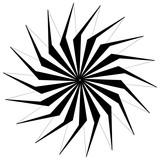 Streszczenie okrągły element geometryczny z linii promieniowych. Zniekształcony promieniujący abstrakcyjny kształt. Monochromatyczny element dekoracyjny - 140771364