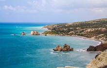 Cyprus, Petra-tou-Romiou, Legendary Aphrodite's Birthplase. Sea View. Cloudy Spring Day.