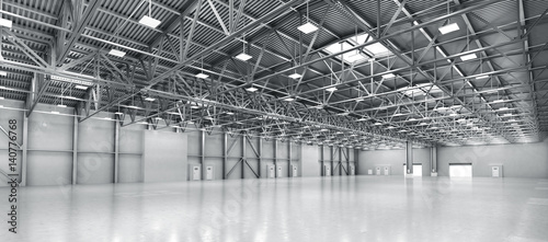 Poster Industrial geb. Empty warehouse. 3d illustration