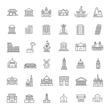 Building Icons Set, Government...