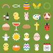easter and spring icon and elements, flat design vector
