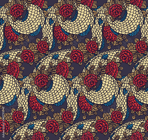 Seamless chinese dragon texture Wallpaper Mural