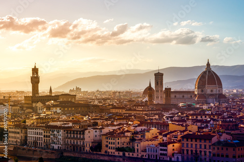 In de dag Florence Blick über Florenz vom Michel Angelo Platz