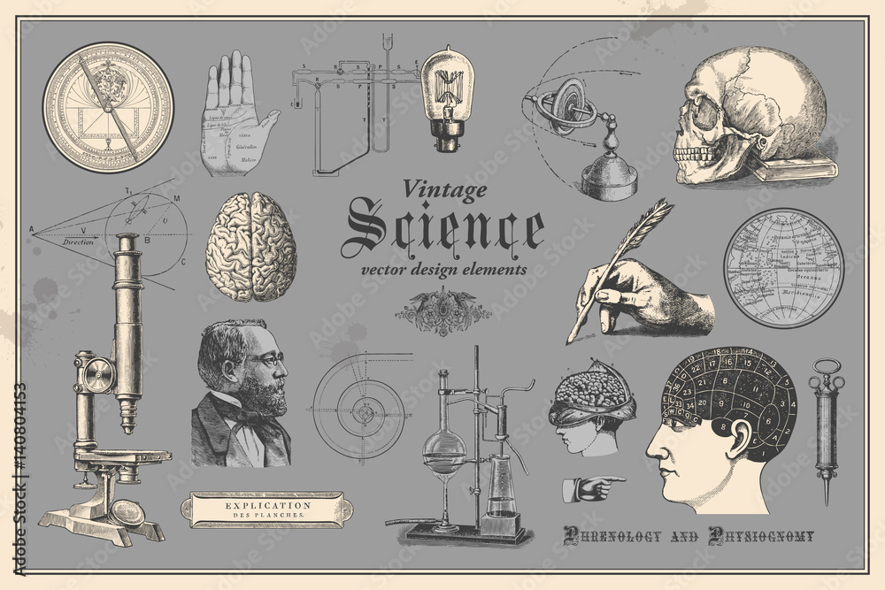Fototapety, obrazy: retro graphic design elements: vintage science - collection of vintage drawings featuring disciplines such as medicine, phrenology, chemistry, palm reading (chiromancy) and nautical navigation