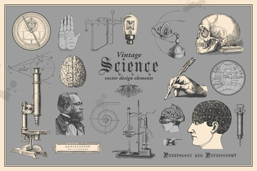 Panel Szklany Do szkoły retro graphic design elements: vintage science - collection of vintage drawings featuring disciplines such as medicine, phrenology, chemistry, palm reading (chiromancy) and nautical navigation